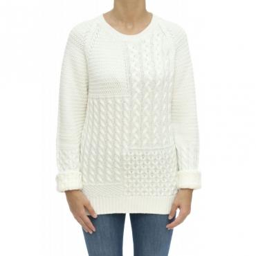 Maglieria - Wwmag1801 maglia treccia 100 merinos 8055 - Bianco