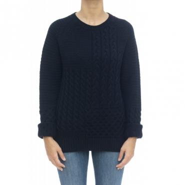 Maglieria - Wwmag1801 maglia treccia 100 merinos 3989 - Blu