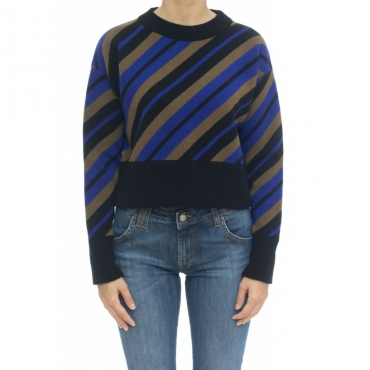 Maglieria - J1079 maglia disegno diagonale 003 - Nero