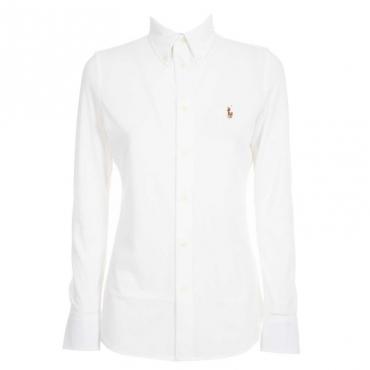 Camicia bianca in cotone con logo WHITE