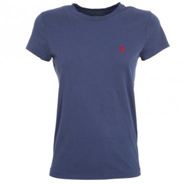 T-Shirt in cotone blu con logo rosso RUSTICNAVY