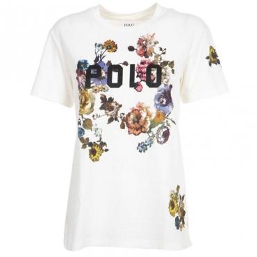 T-Shirt con stampa logo e fiori WHITE