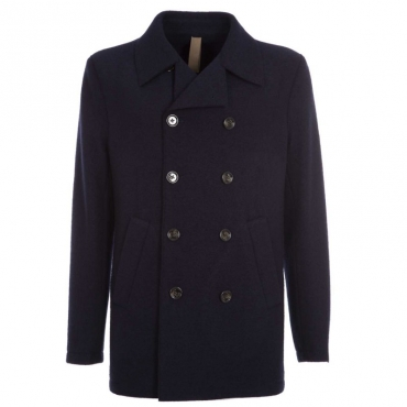 Cappotto in lana blu doppiopetto 19ROYAL