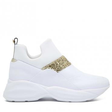 Sneakers bianche e oro BIANCO