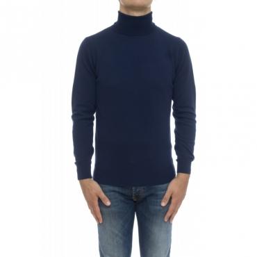 Maglia uomo - 8008/05 collo alto con toppa lacantara 138 - blu