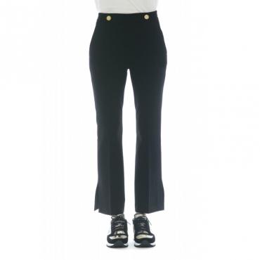 Pantalone donna - J4000 pantalone spacco bottone vita 003 - Nero