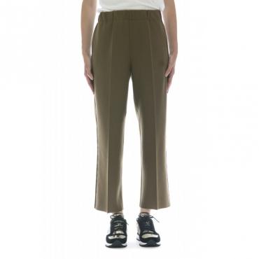 Pantalone donna - J4008 pantalone elastico banda laterale 085 - Oliva nero