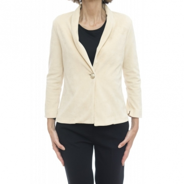 Giacca donna - Fd1389 giacca cortta velluto mono boyyone BIANCO