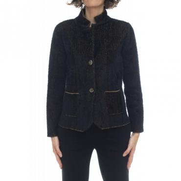 Giacca donna - 0216 giacchina effetto pelliccia 212 - Nero cammello