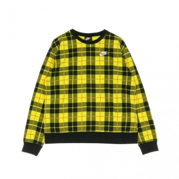 FELPA LEGGERA GIROCOLLO CREW FLC AOP PLAID CHROME YELLOW/BLACK/WHITE