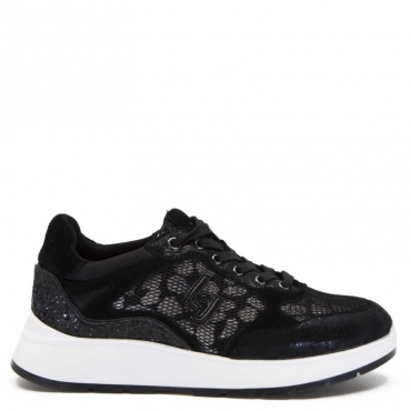 Sneakers Asia con rete e glitter neri 22222BLACK