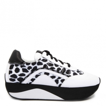 Sneakers Hilary animalier bianco 00054BLACK/W