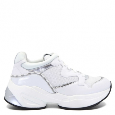 Sneakers Jog bianche in pelle 01111WHITE