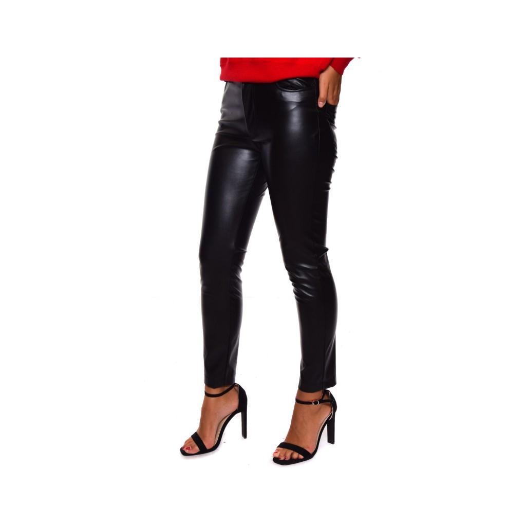 Pantalone 5 tasche ecopelle NERO