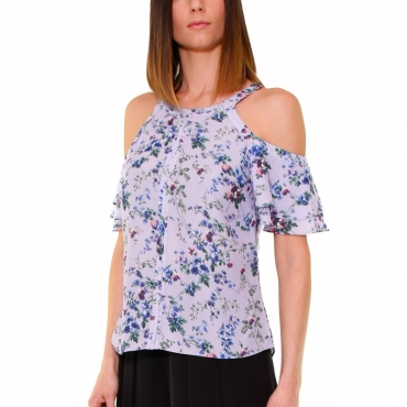 TOP IN GEORGETTE A FIORI LILLA