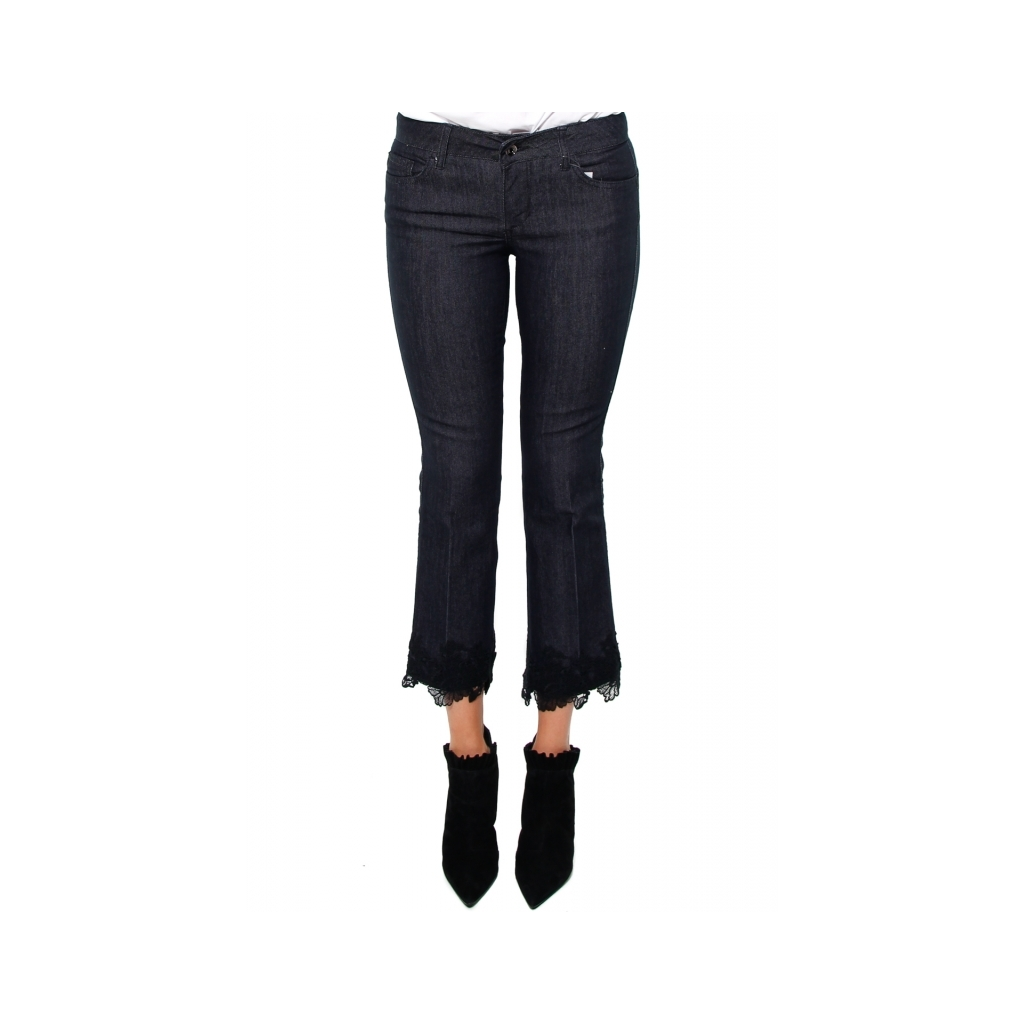 Liu jo JEANS BOTTOM UP CROPPED CON PIZZO BLU Donna |