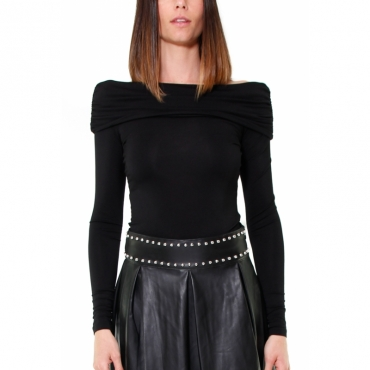 TOP IN JERSEY SCOLLO BARDOT NERO