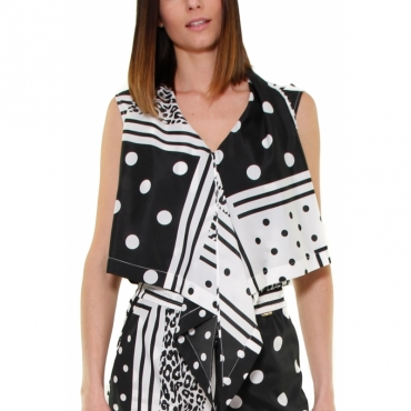 TOP STAMPA PATCHWORK SCOLLO A V BIANCO