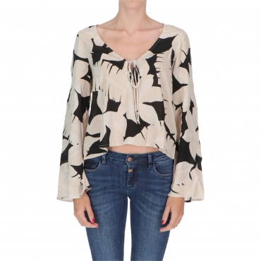 BLUSA TIED AND TRUE ALLOVER W BILLABONG  BLACK