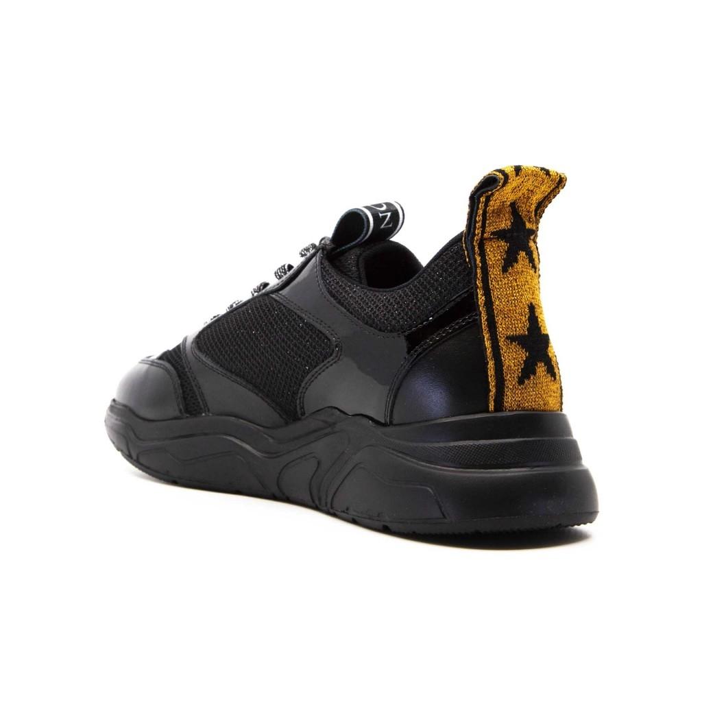 Sneakers Nastro nere in cuoio e tessuto NERO/ARANCIO