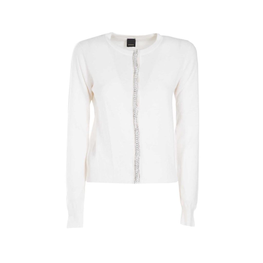 Pullover in misto lana con chiusura gioiello Z06WHITE