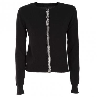 Pullover in misto lana con chiusura gioiello Z99BLACK