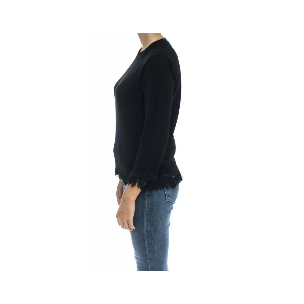 Maglieria - J1103 maglia gir frange 003 - Nero