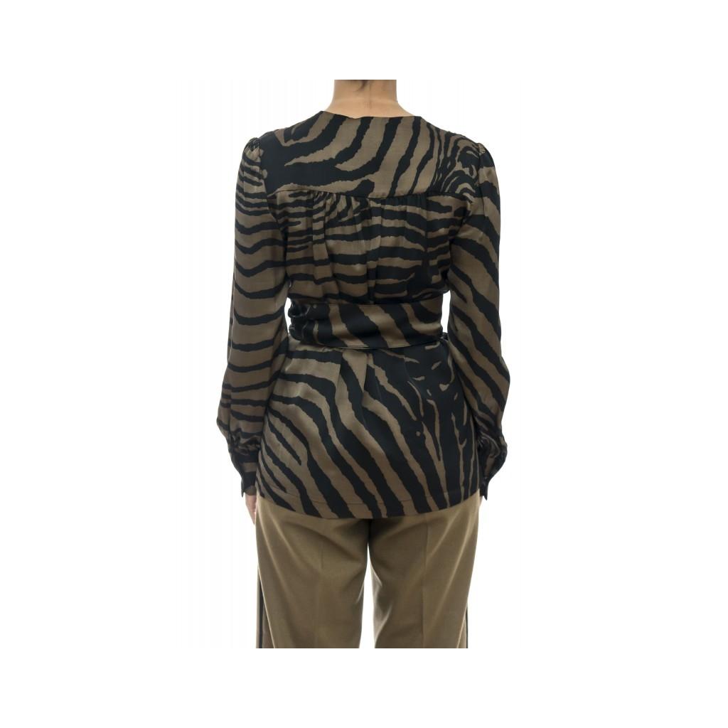 Camicia donna - J2021/z  camicia incrociata zebra 085 - Oliva nero