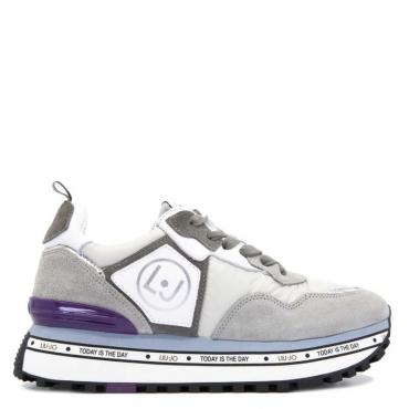 Sneakers Maxi Alexa in cuoio e tessuto 01072GREY