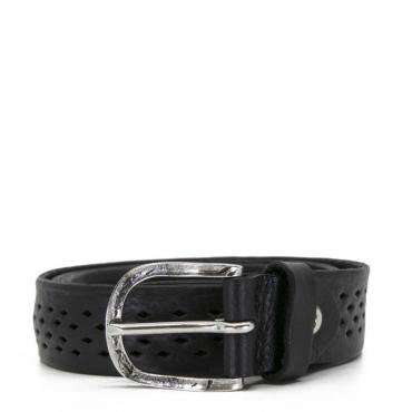 Cintura in pelle nera con trama forata BLACK