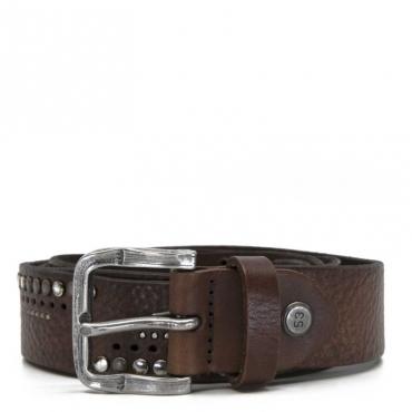 Cintura in pelle marrone con inserti
