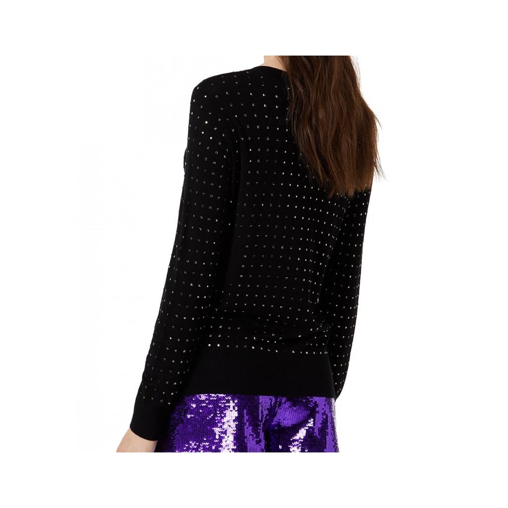 Maglia nera con borchiette all over 22222NERO