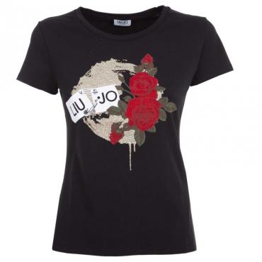 T-Shirt in cotone con stampa frontale U9515NEROLIU