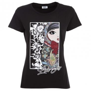 T-Shirt in cotone con stampa frontale U9516NERORUS