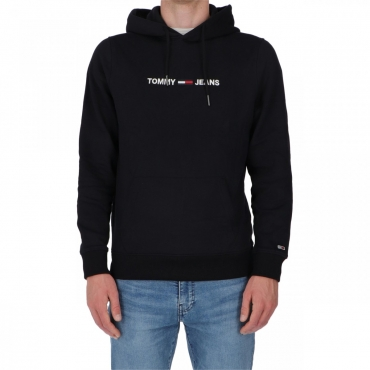Felpa Tommy Hilfiger Jeans Logo Hoodie BBU TOMMY BLACK