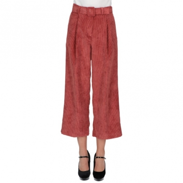 Pantalone cropped velluto righe TERRACOTTA