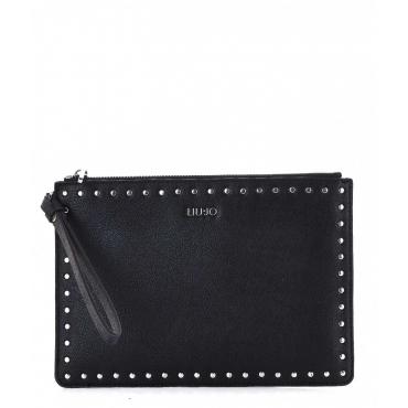 Pochette con borchie nero