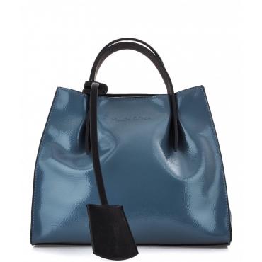 Piccola borsa a mano laccata Doris blu