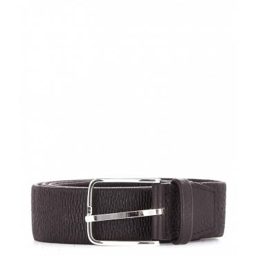 Cintura in pelle elastica marrone scuro