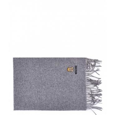 Sciarpa in lana con orsacchiotto grigio chiaro
