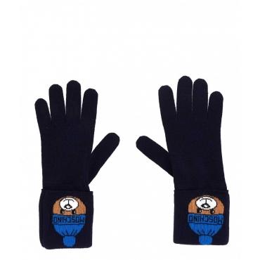 Guanti con orsacchiotto blu scuro