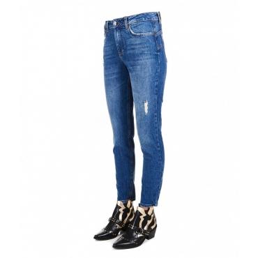 Mom jeans con strass blu