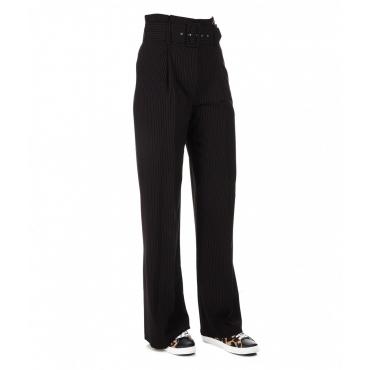 Pantalone gessato largo con pieghe nero