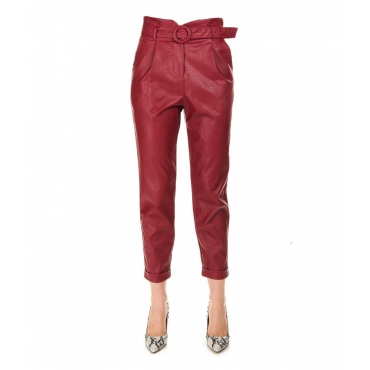 Pantalone in ecopelle rosso