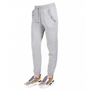 Pantalone jogging con dettaglio strass grigio chiaro