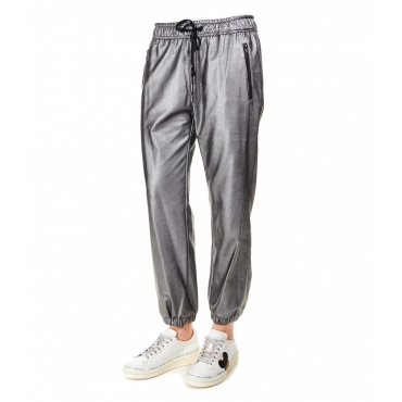 Pantalone jogging in ecopelle argento