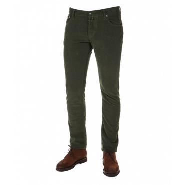 Pantalone in velluto a costine verde scuro