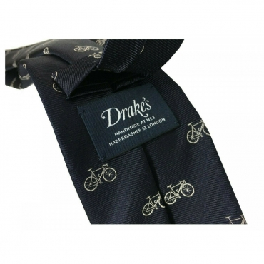 DRAKES LONDON Cravatta Uomo foderata fantasia Bicicletta cm 147x8 MADE IN ENGLAND Blu