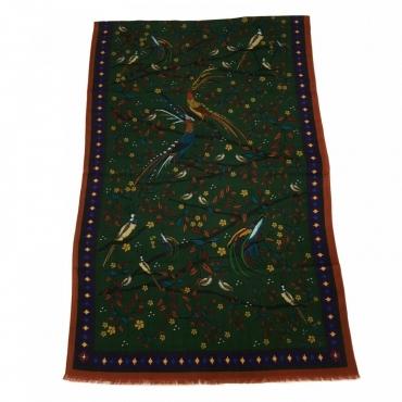 DRAKES Sciarpa uomo multicolore con uccelli art 19816 100 lana MADE IN ITALY Verde