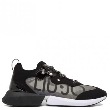 Sneakers trasparente con maxi logo 22222BLACK